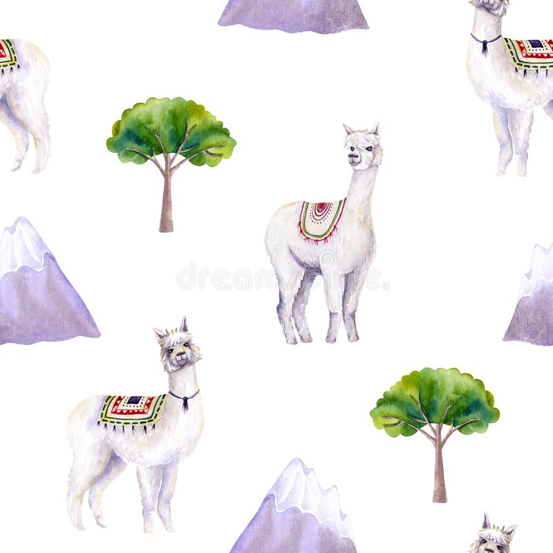 Seamless pattern of watercolor alpacas, mountains, trees. Colorful illustration isolated on white. Hand painted template. Perfect for kids wallpaper, interior vector illustration