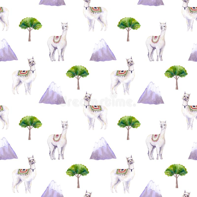 Seamless pattern of watercolor alpacas, mountains, trees. Colorful illustration isolated on white. Hand painted template. Perfect for kids wallpaper, interior stock illustration
