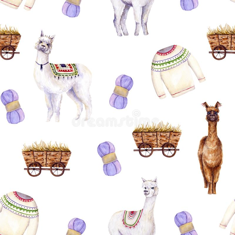 Seamless pattern of watercolor alpacas, yarn, sweater, cart. Colorful illustration isolated on white. Hand painted template. Perfect for kids wallpaper stock illustration