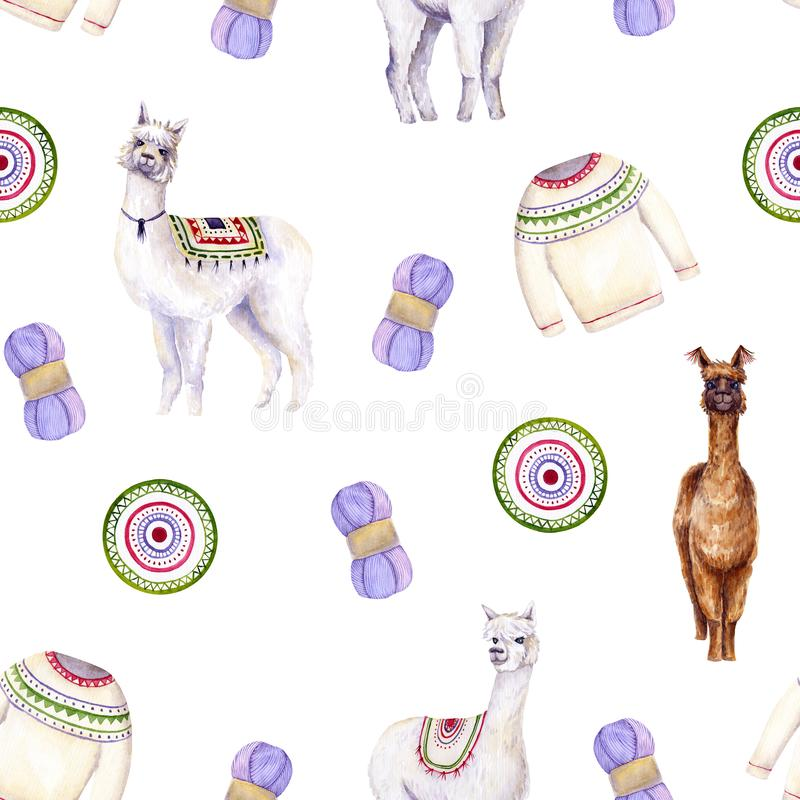 Seamless pattern of watercolor alpacas, yarn, sweater, mat. Colorful illustration isolated on white. Hand painted template. Perfect for kids wallpaper, interior royalty free illustration