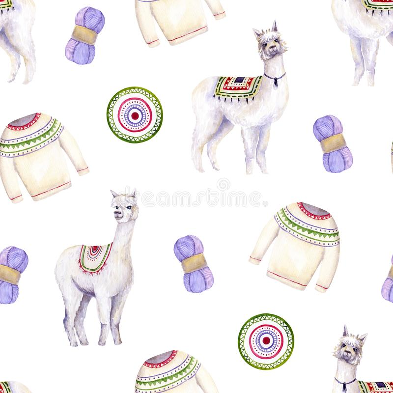 Seamless pattern of watercolor alpacas, yarn, sweater, mat. Colorful illustration isolated on white. Hand painted template perfect. For kids wallpaper, interior vector illustration