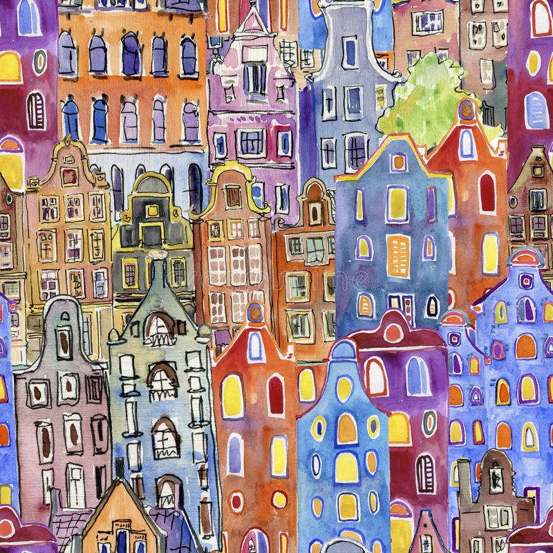 Seamless pattern with watercolor Amsterdam houses vector illustration