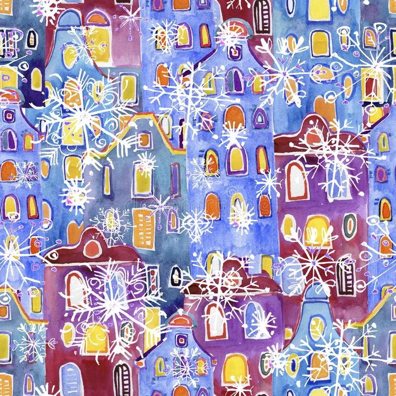 Seamless pattern watercolor Amsterdam houses. Winter background stock photo