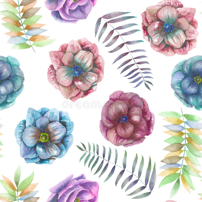 Seamless pattern with the watercolor anemone flowers, fern, leaves and branches vector illustration