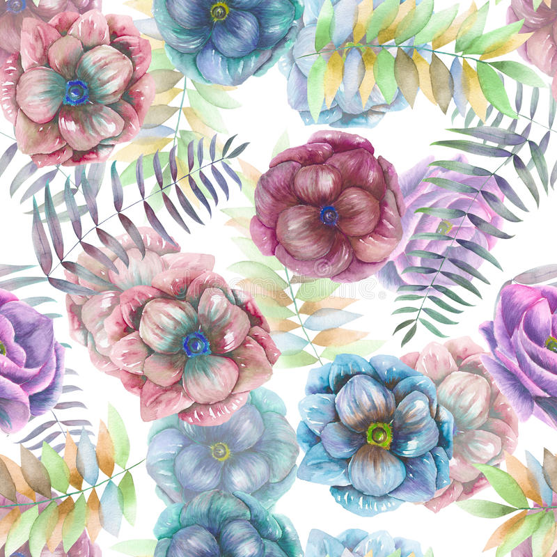 Seamless pattern with the watercolor anemone flowers, fern, leaves and branches royalty free illustration