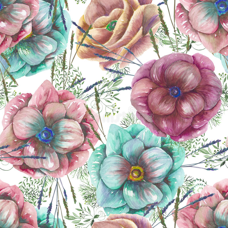 Seamless pattern with the watercolor anemone flowers and grass stock illustration