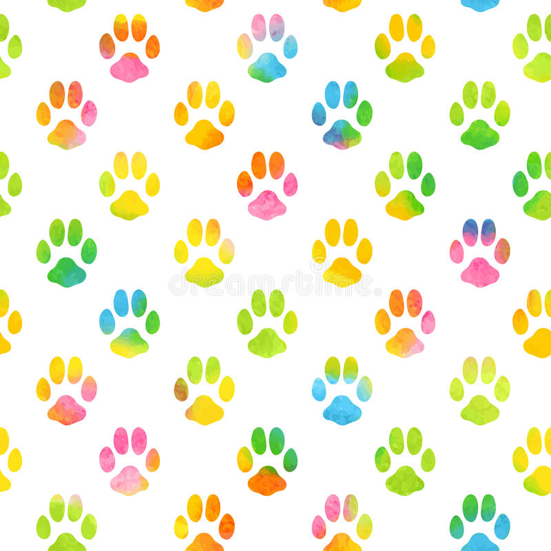 Seamless Pattern With Watercolor Animal Footprint Stock Vector ...
