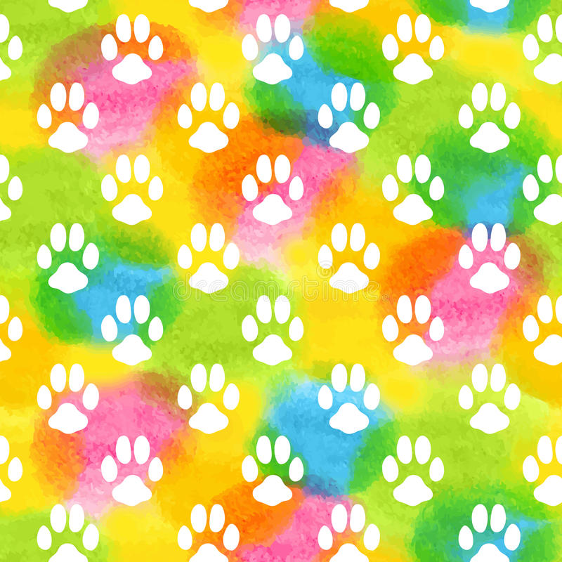 Seamless pattern with watercolor animal footprint royalty free illustration