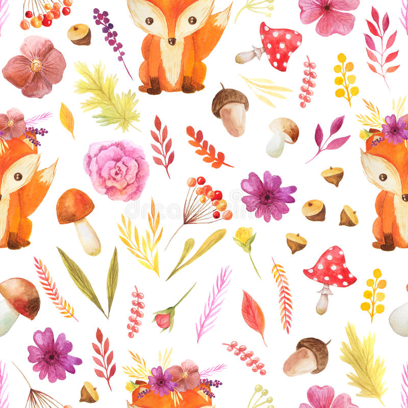 Seamless pattern with watercolor autumn leaves stock illustration