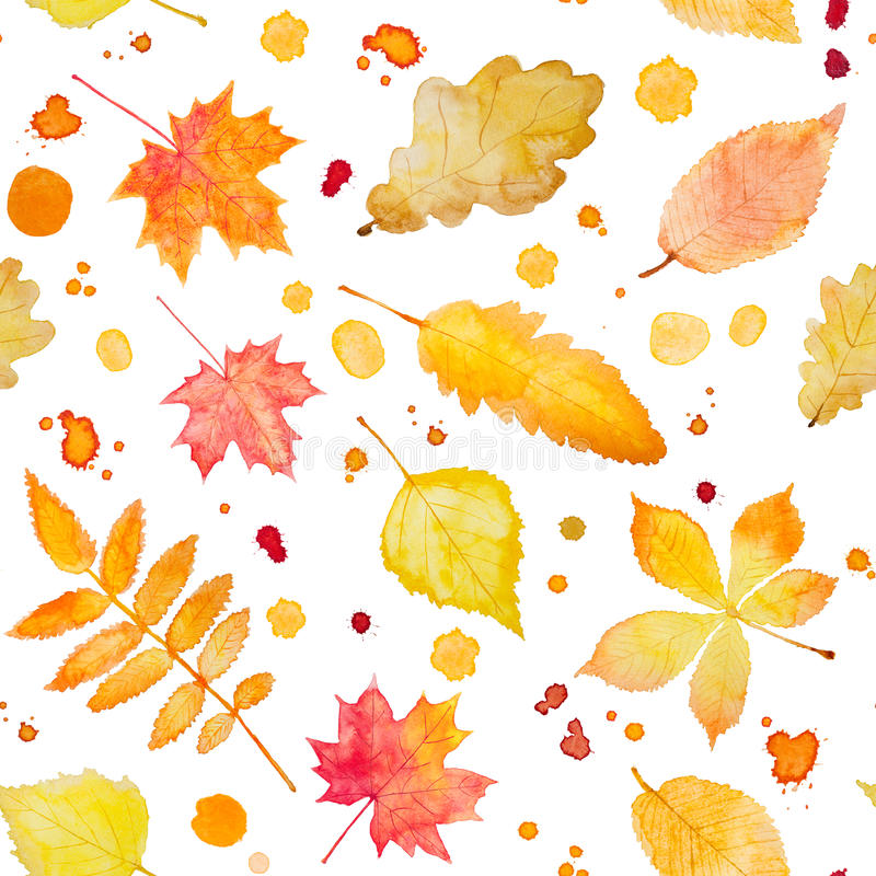 Seamless pattern with watercolor autumn leaves and splash. stock illustration