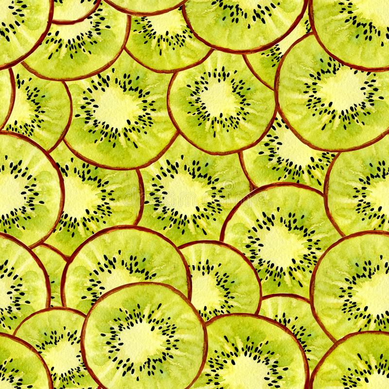 Seamless pattern watercolor background with the image of a kiwi, apteryx. Juicy pulp and seeds for print design, banner stock illustration