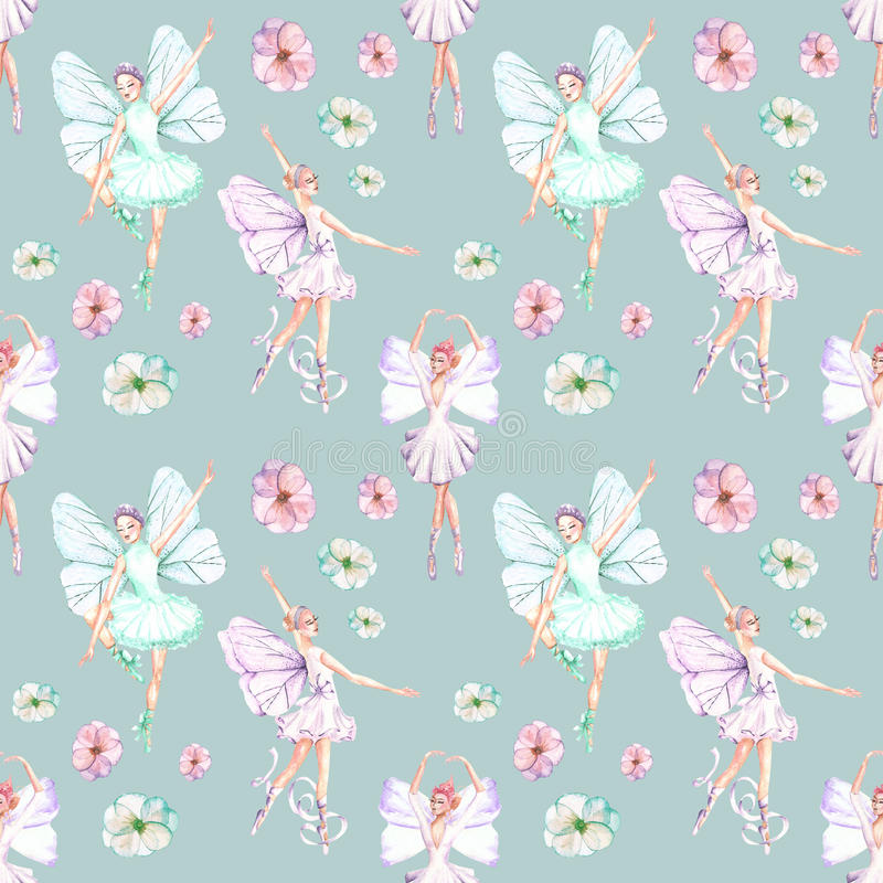 Seamless pattern with watercolor ballet dancers with butterfly wings and flowers royalty free illustration