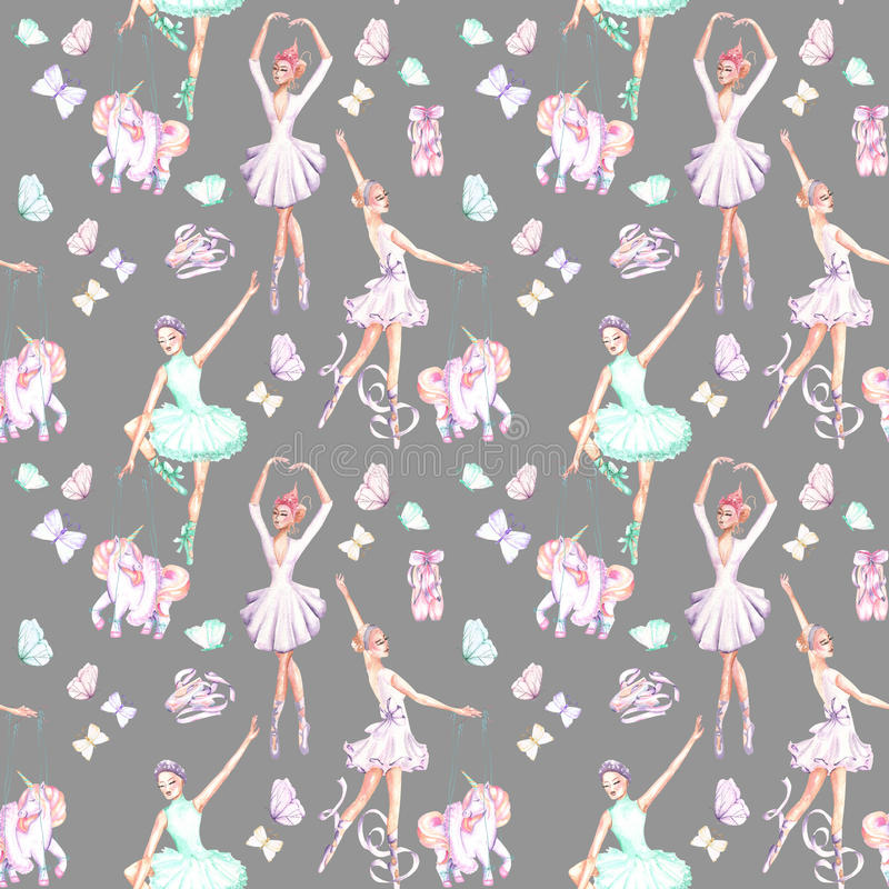 Seamless pattern with watercolor ballet dancers, puppet unicorns, butterflies and pointe shoes. Hand drawn isolated on a grey background royalty free illustration