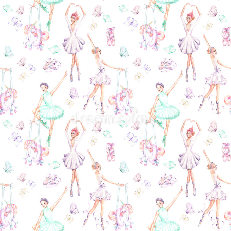 Seamless pattern with watercolor ballet dancers, puppet unicorns, butterflies and pointe shoes. Hand drawn isolated on a white background royalty free illustration