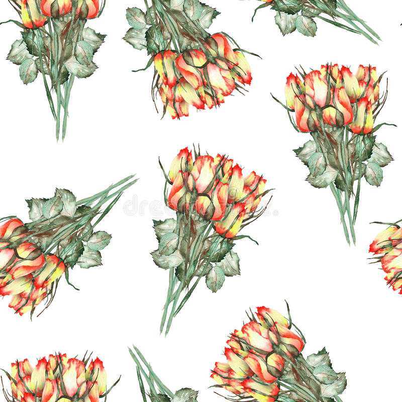 A seamless pattern with the watercolor beautiful bouquets of the red and yellow roses on a white background vector illustration