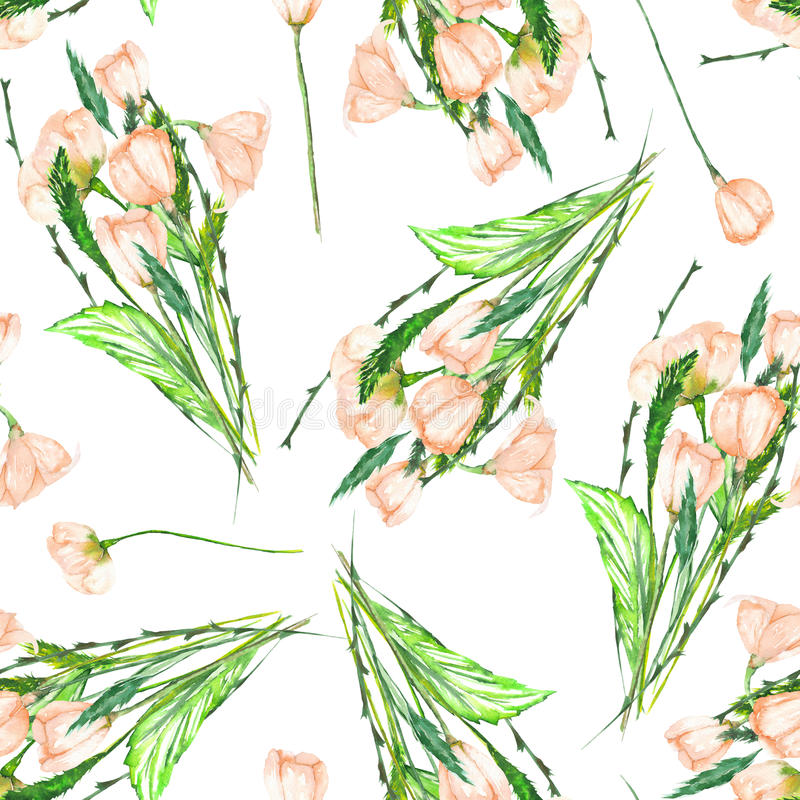 A seamless pattern with the watercolor beautiful bouquets of the tender pink spring wildflowers on a white background stock illustration