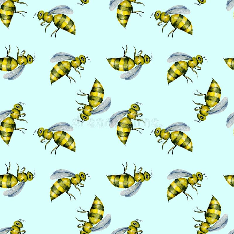 Seamless pattern with watercolor bees royalty free illustration