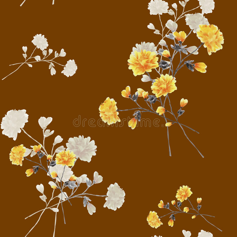 Download Seamless Pattern Watercolor Of Beige And Yellow Flowers And Bouquets On A Chocolate Background Stock Illustration - Image: 83701242
