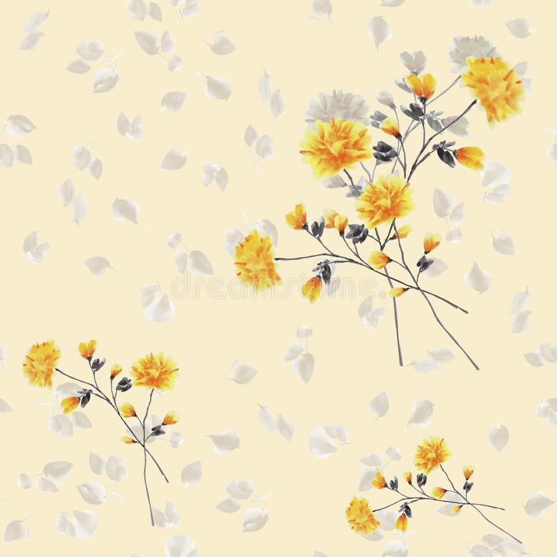 Seamless pattern watercolor of beige and yellow flowers and bouquets on a light beige background stock photos