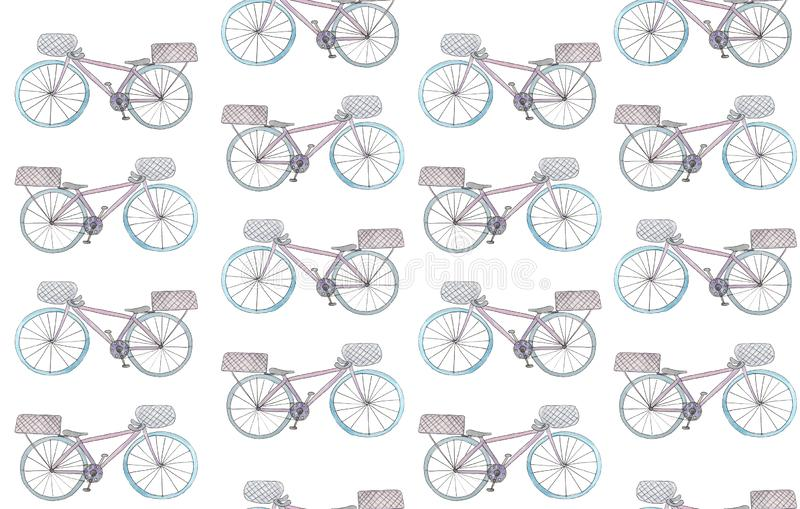 Seamless pattern with watercolor bikes on a white background. raster illustration for design royalty free illustration