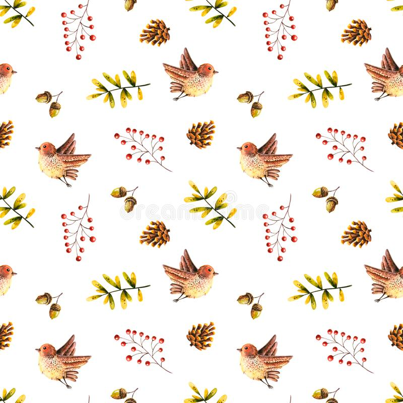 Seamless pattern with watercolor birds, leaves, rowan, acorn, cone. Illustration isolated on white. Hand drawn autumn items. Perfect for wallpaper, vintage vector illustration