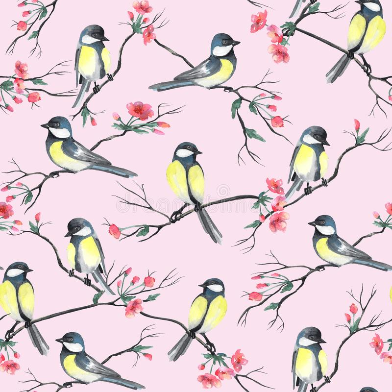 Seamless pattern with watercolor birds sitting on a branches with flowers vector illustration