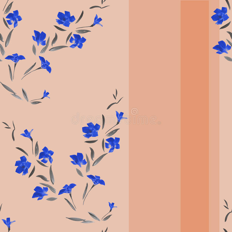 Pattern watercolor blue flowers on a pink background with vertical stripes stock photos