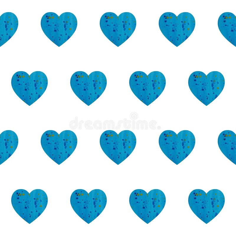 Seamless pattern with watercolor blue hearts. Hand draw illustration background. Seamless pattern with watercolor blue hearts. Background can be printed on royalty free illustration