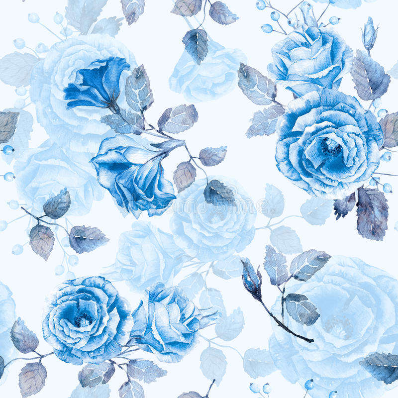 Seamless Pattern Of Watercolor Blue Roses Stock