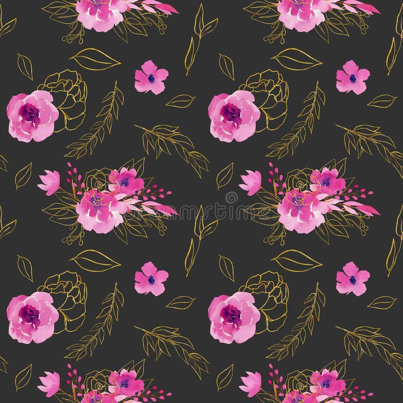 Seamless pattern with watercolor bouquets, flowera and branches in pink and golden colors 库存例证
