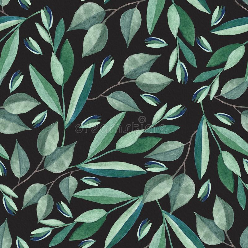 Seamless pattern with watercolor branches. Illustration isolated on black background royalty free stock photography