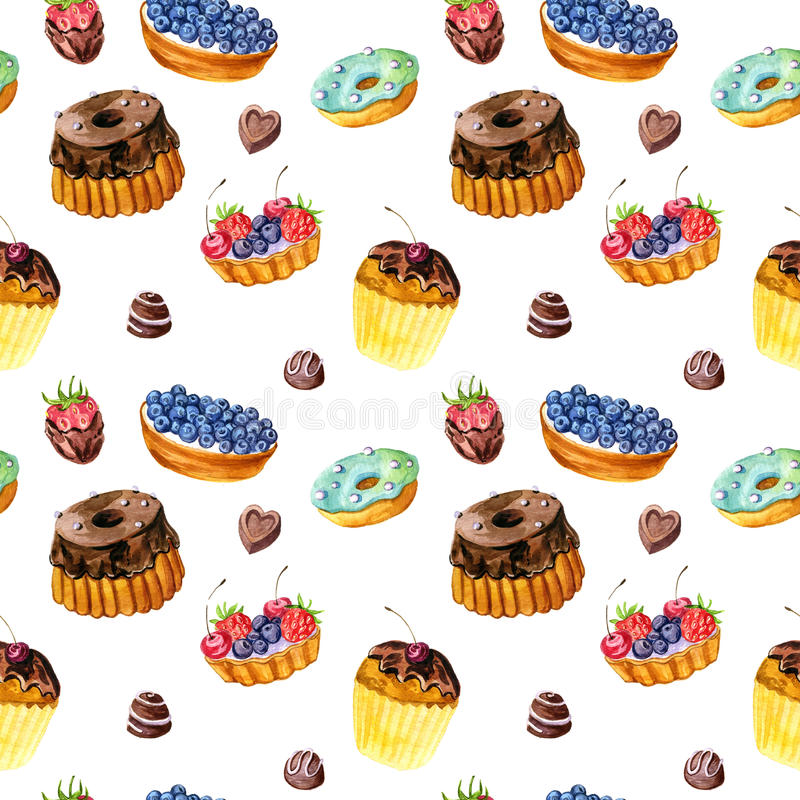 Seamless pattern with watercolor cakes stock illustration