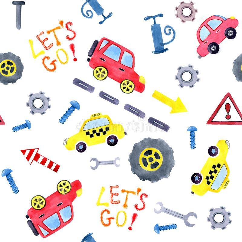 Seamless pattern with watercolor cartoon cars and spare parts. Design of children`s clothing, wallpaper, packaging, background, vector illustration