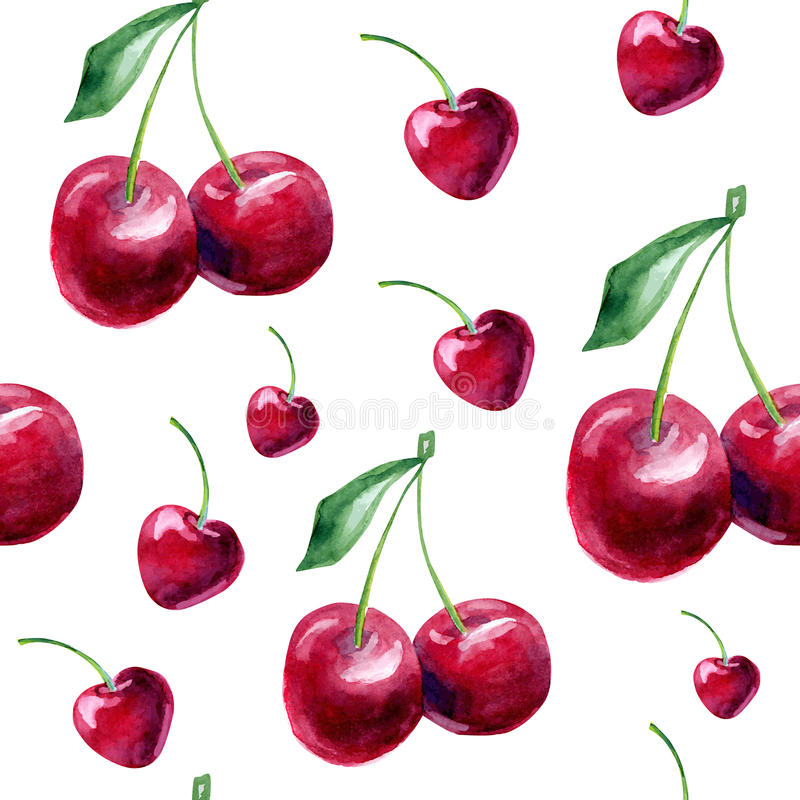 Seamless pattern with watercolor cherries. stock illustration