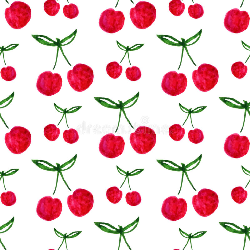 Seamless pattern with watercolor cherry. Endless print background texture. Fabric design. Watercolor fruit vector vector illustration