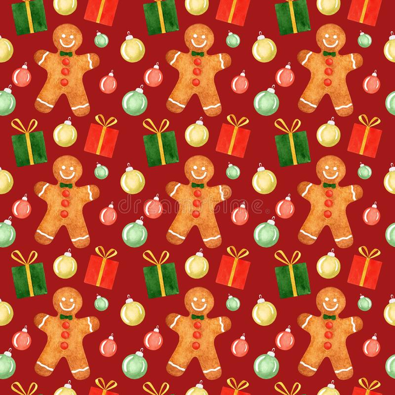 Seamless pattern with watercolor Christmas symbols: gingerbread man, gifts, holiday tree balls on red background royalty free illustration