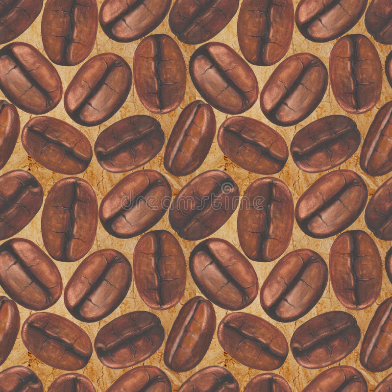 Seamless pattern with watercolor coffee beans on old paper background royalty free illustration