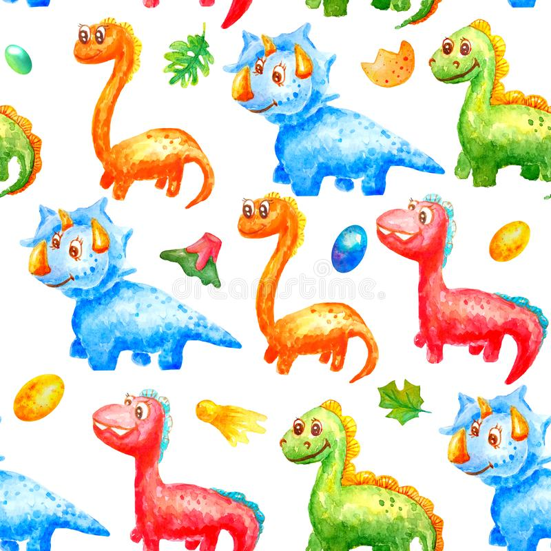 Seamless pattern watercolor colorful dinosaurs with eggs, trace, volcano ana leafs on white background. For wallpaper or print or. Textile about dragon for kids vector illustration