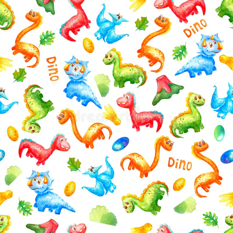 Seamless pattern watercolor colorful dinosaurs with eggs, trace, volcano ana leafs on white background.  Wallpaper or print or. Textile about dragon for kids stock illustration