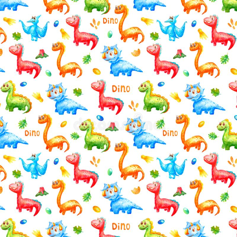 Pattern watercolor colorful dinosaurs with eggs, trace, volcano ana leafs on white background.  Wallpaper or print or. Seamless pattern watercolor colorful vector illustration