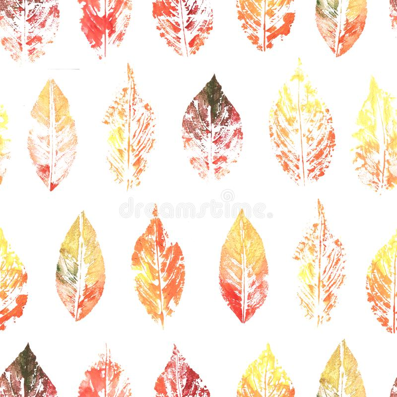Seamless pattern with watercolor colorful ink printing leaves on white vector illustration