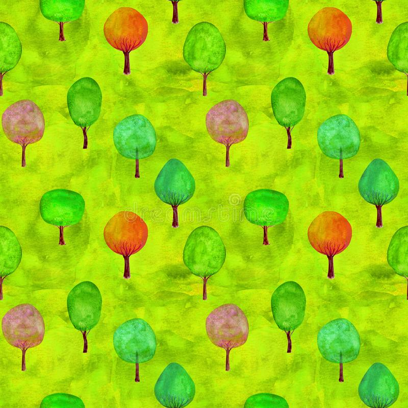 Seamless pattern of watercolor colorful trees on green grass background. Watercolour hand drawn template texture illustration. Print for textile, fabric royalty free stock photo