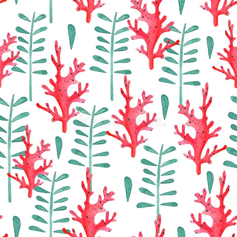 Seamless pattern with watercolor corals and algae branches royalty free illustration