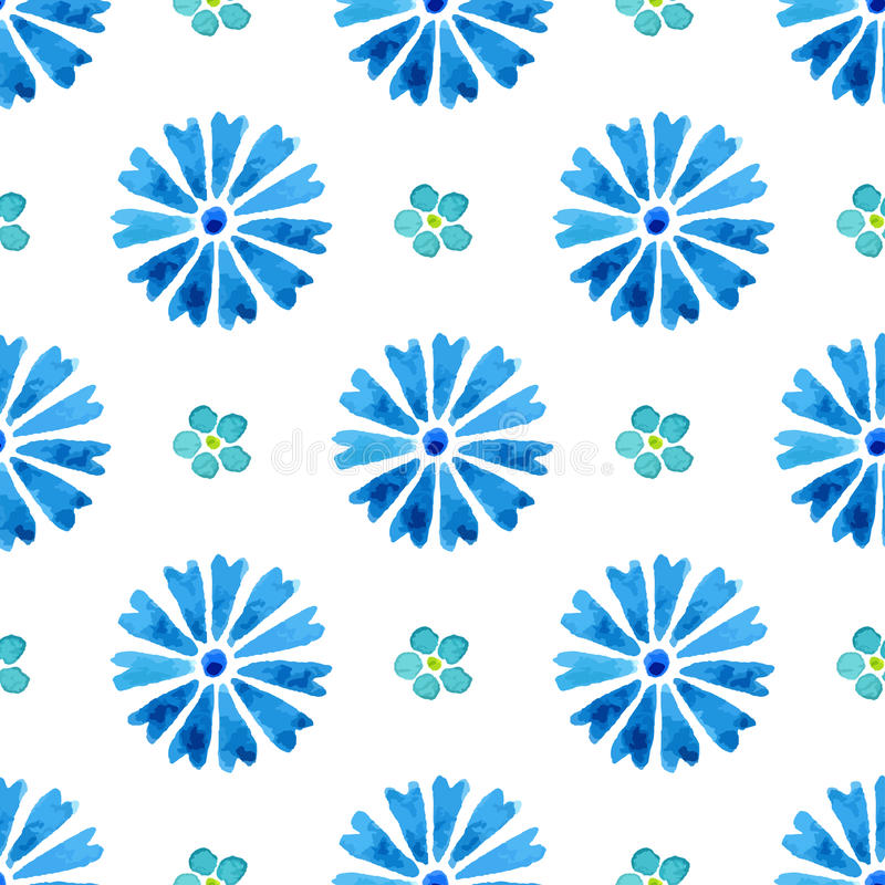 Seamless pattern with watercolor cornflower and forget-me-not. Blue flowers vector illustration