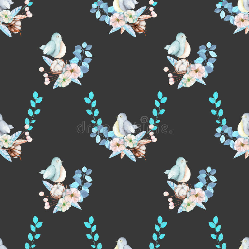 Seamless pattern with watercolor cute bird, blue plants, flowers and cotton flower, hand drawn isolated on a dark background stock illustration
