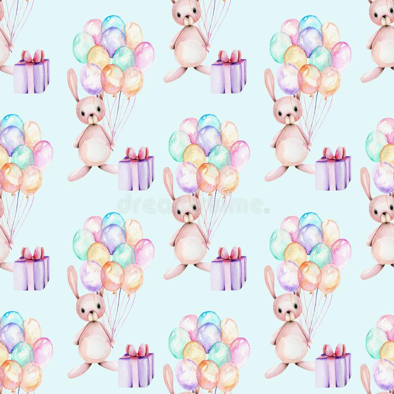 Seamless pattern with watercolor cute festive rabbits, gift boxes and air balloons illustrations stock illustration