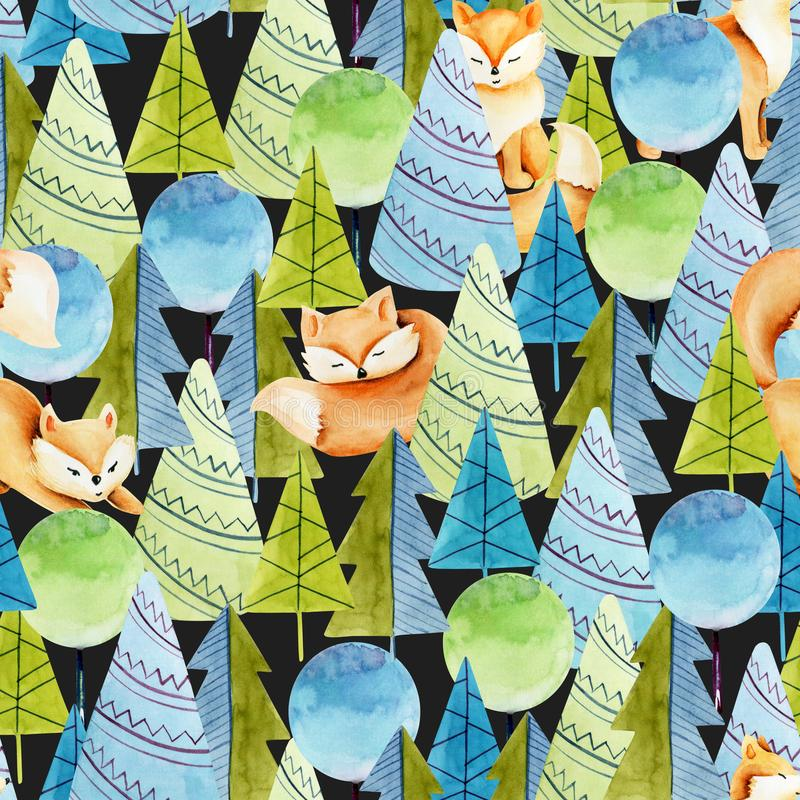 Seamless pattern of watercolor cute foxes and simple spruces on a dark background stock illustration