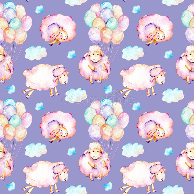 Seamless pattern with watercolor cute pink sheeps, air balloons and clouds illustrations royalty free illustration