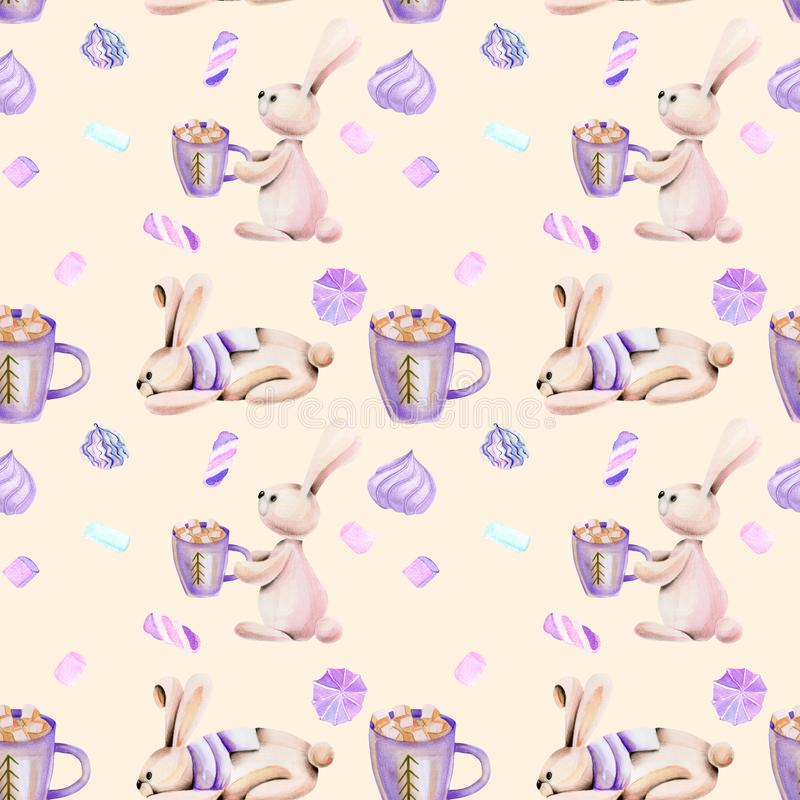 Seamless pattern with watercolor cute rabbits and marshmallow royalty free illustration
