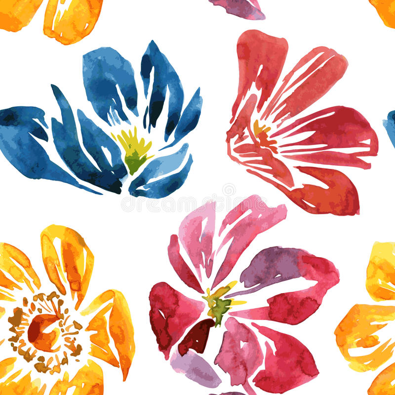 Seamless pattern with watercolor drawing flower stock illustration